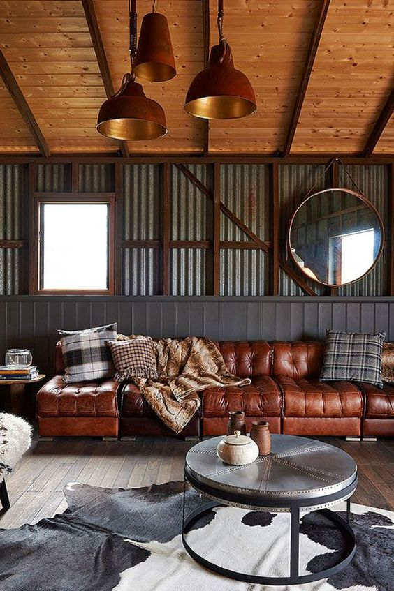 manly industrial interior design living room