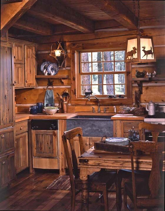 masculine and manly cabin kitchen
