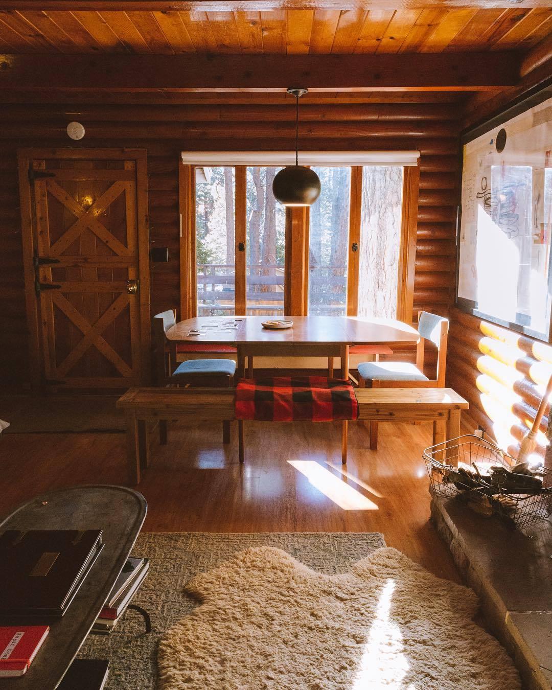 masculine cabin interior