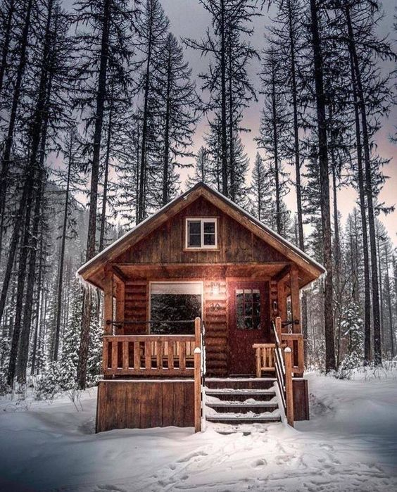 small cabin in the snow