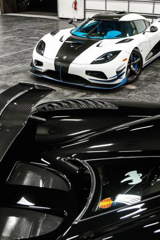 two supercars in garage