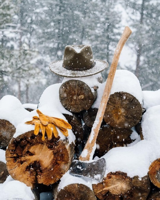 axe and wood in snow