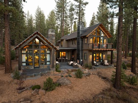 large home in the woods