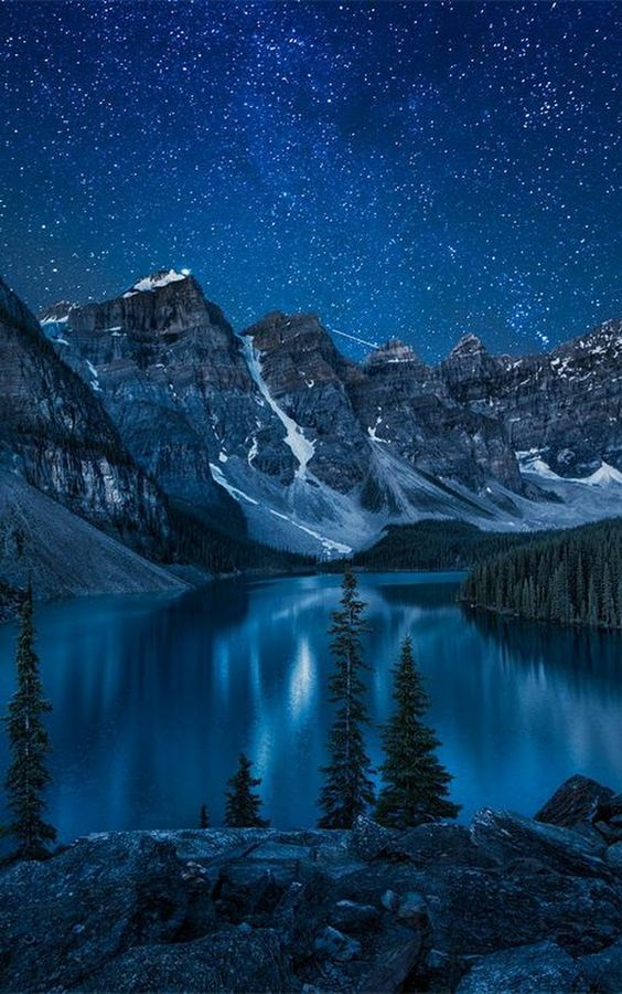 mountain lake at night