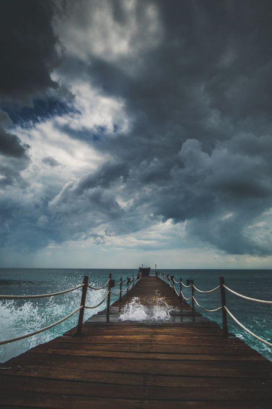 coastal dock in stormy conditions