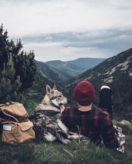man and dog admiring mountain view