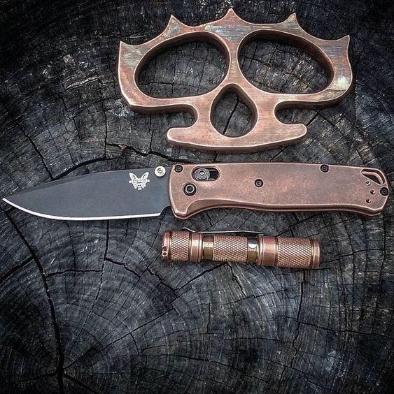 brass edc with spyderco knife