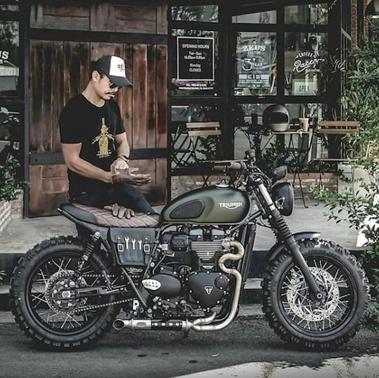 man and triumph motorcycle