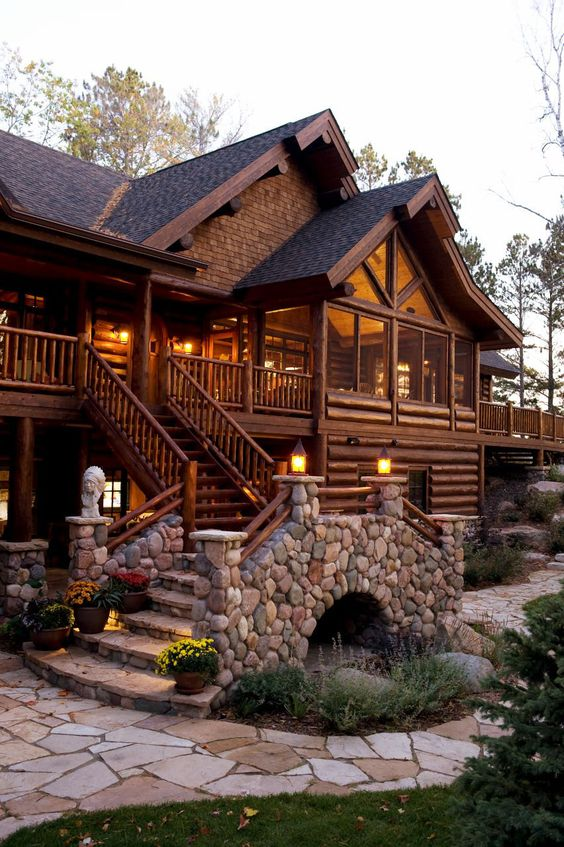 manly home with wood and stone