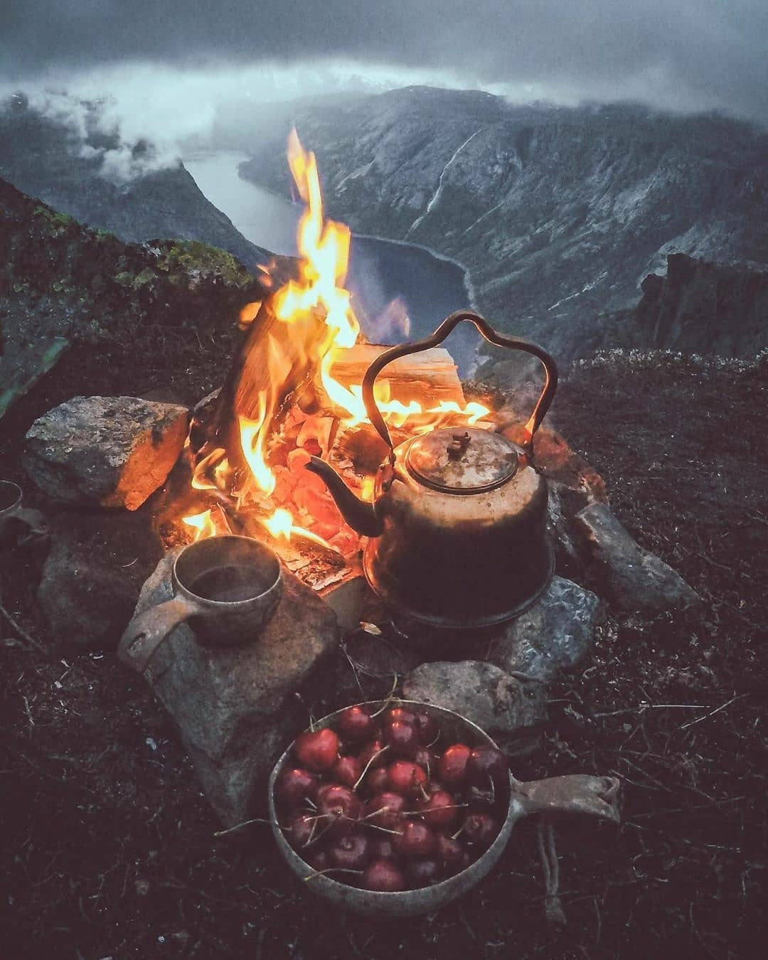mountain top campfire