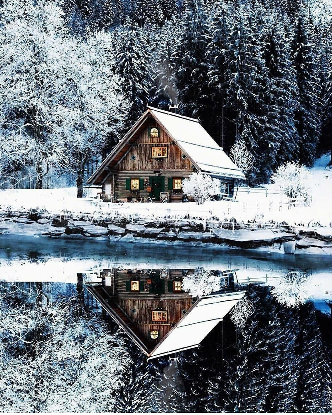 snow cabin lake reflection