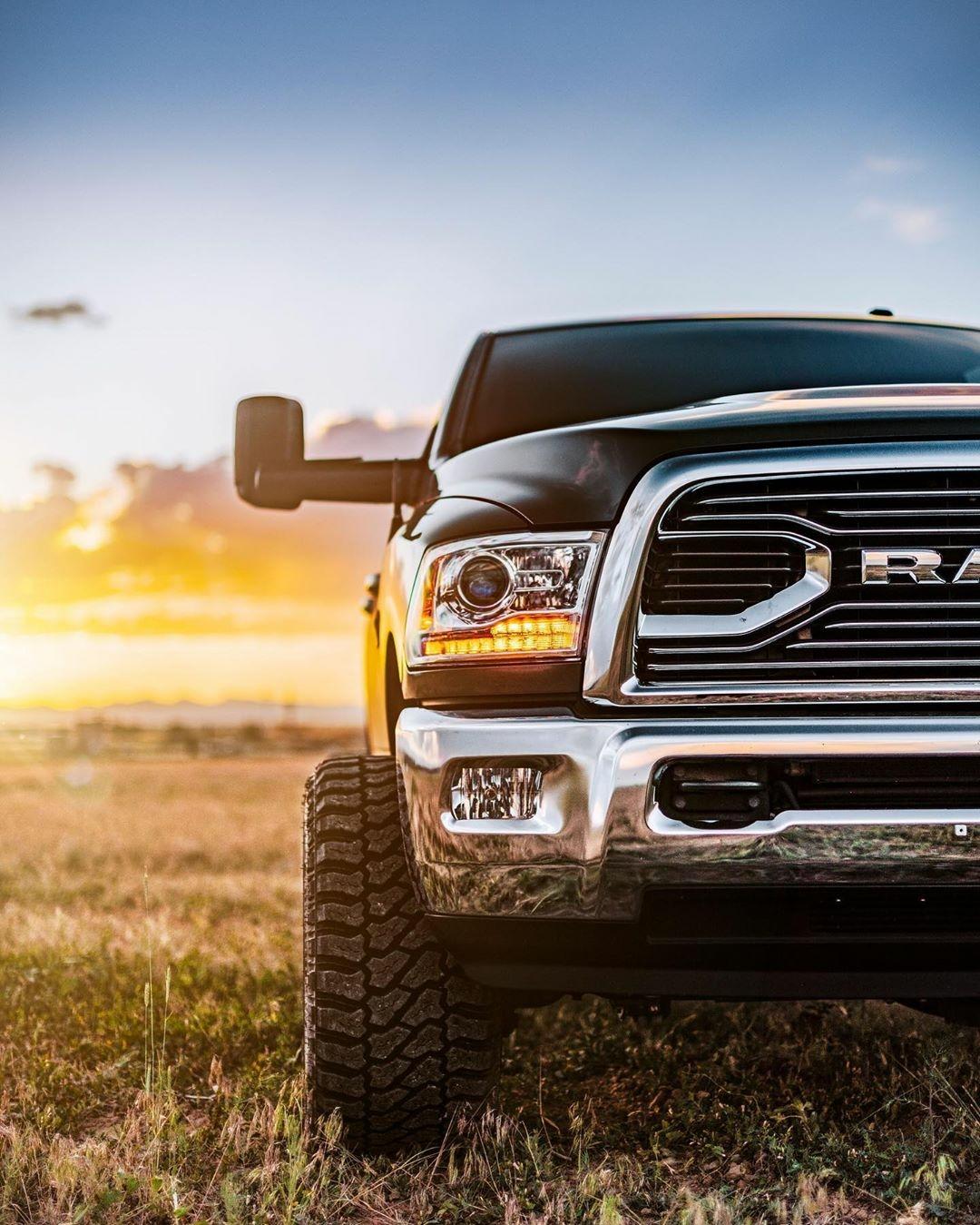 dodge truck and sunrise