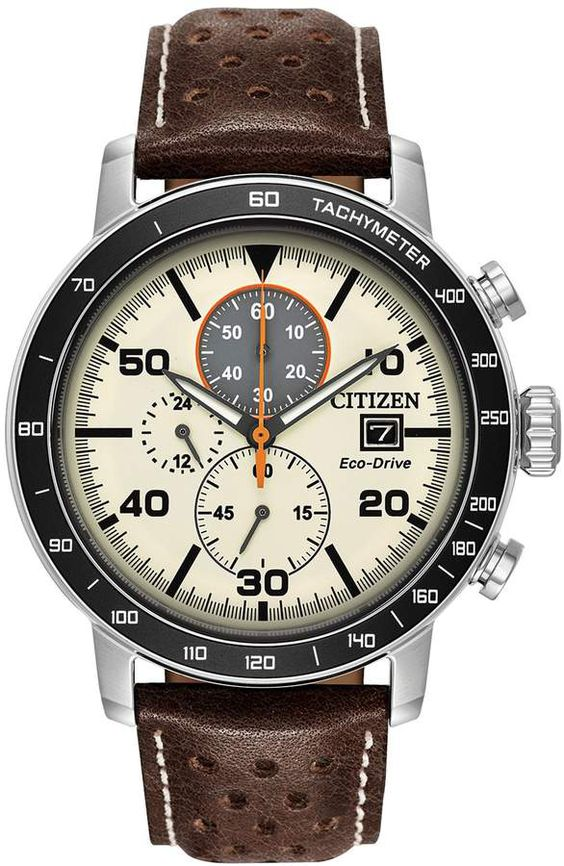 Citizen Eco-Drive Mens Brycen Leather Chronograph Watch