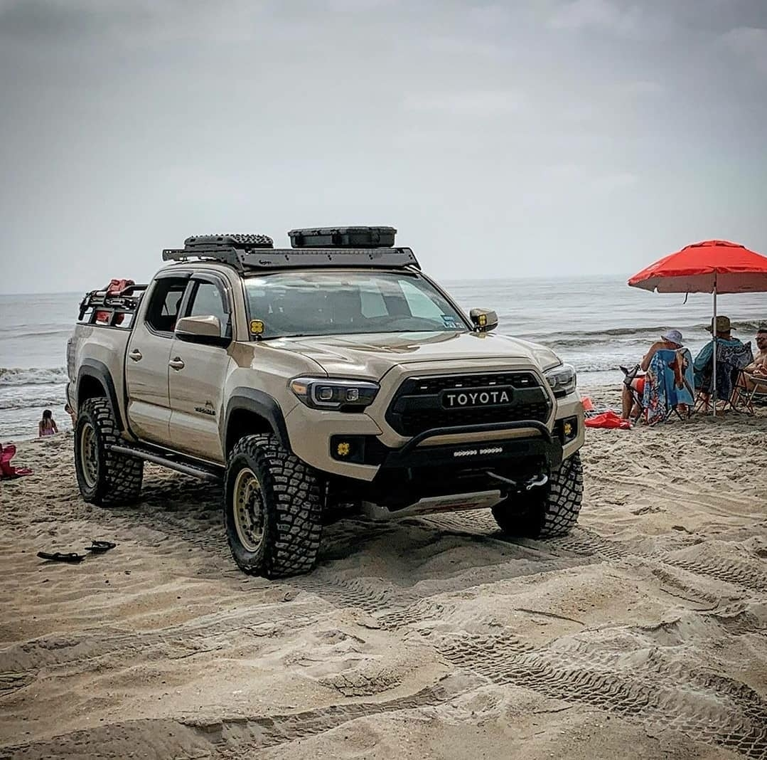 toyota truck on beach