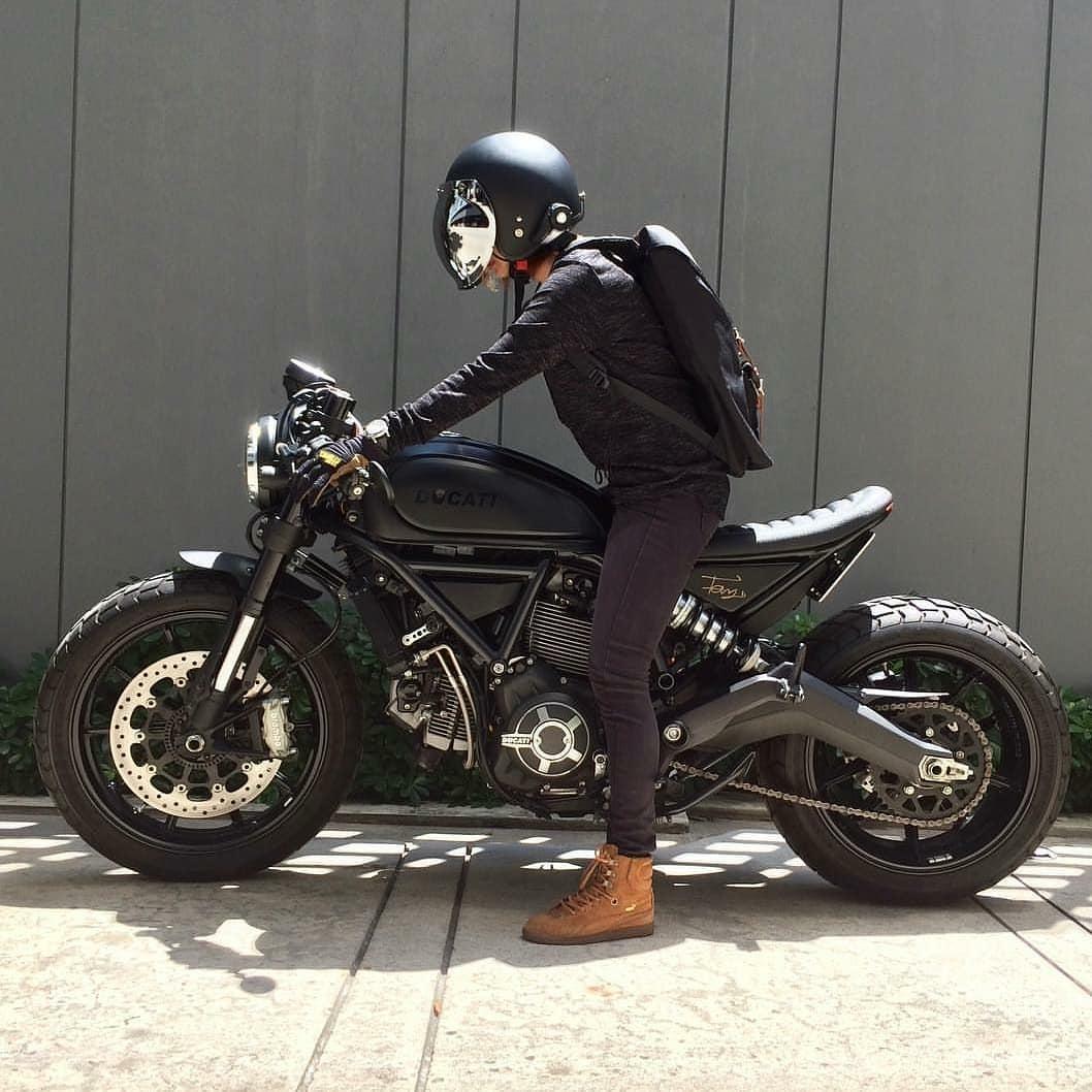 man on Ducati Scrambler