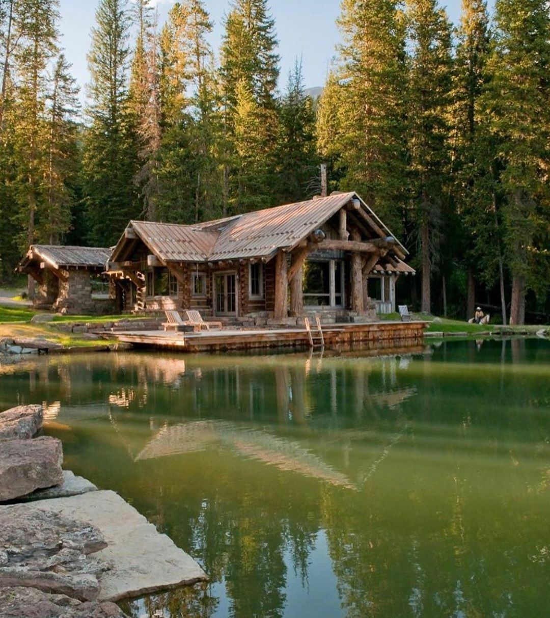 the manly life - cabin on the lake