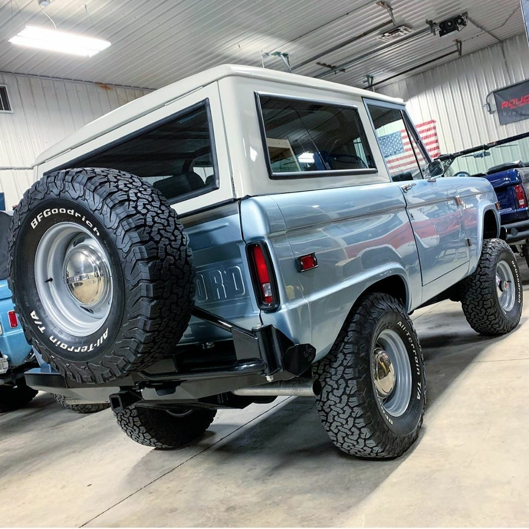 Ice blue classic Ford Bronco