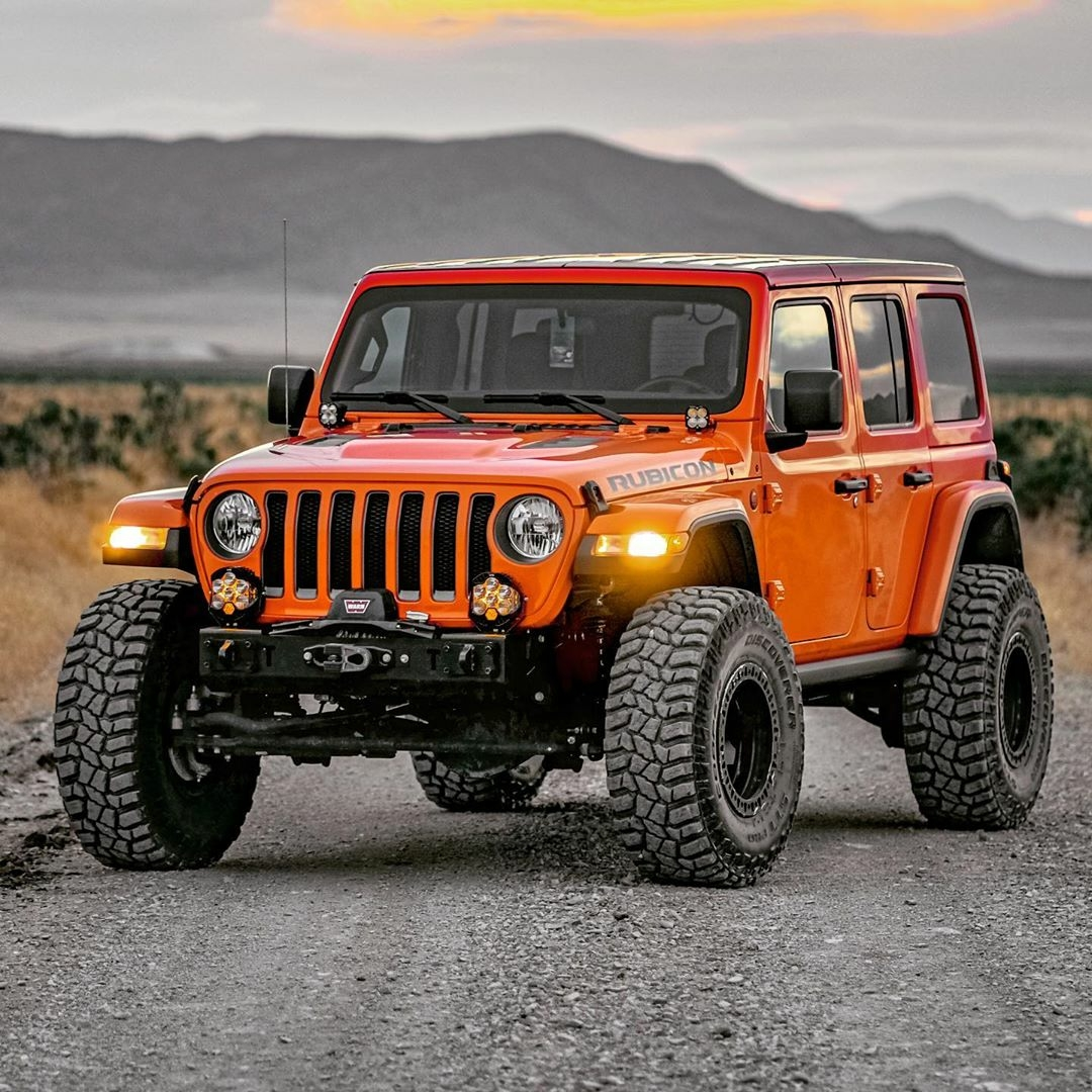 orange jeep rubicon