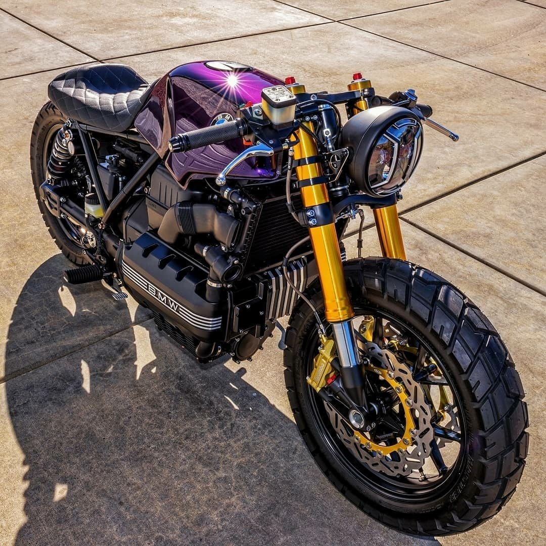 purple bmw cafe style motorcycle