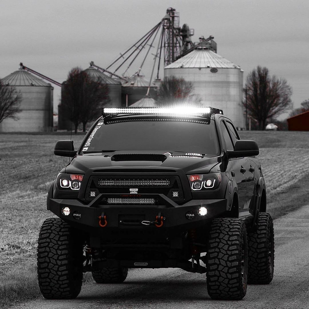 black and white toyota tundra shot
