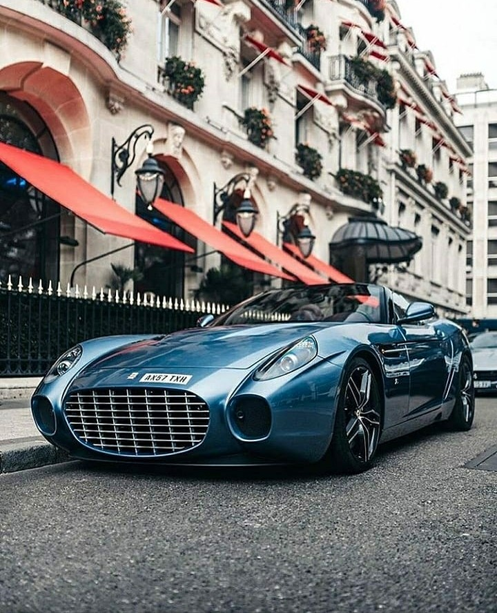 blue Ferrari supercar
