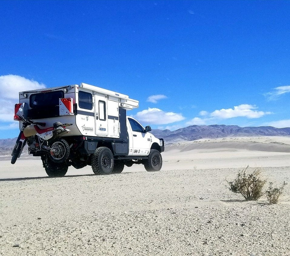 camper truck in the sand