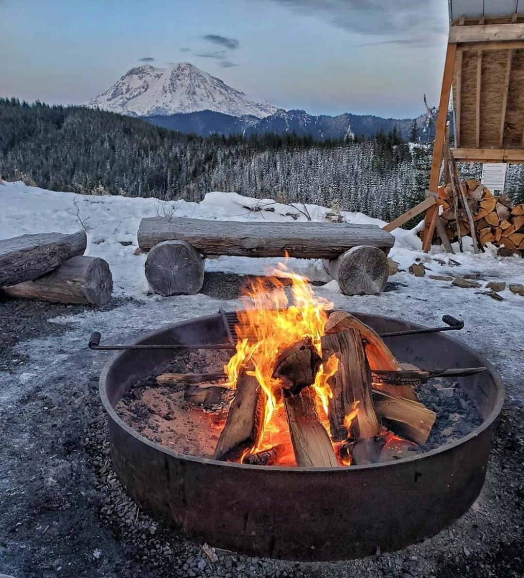 fire pit campfire in the mountains