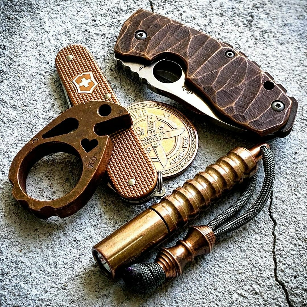Brass and Brown Spyderco EDC