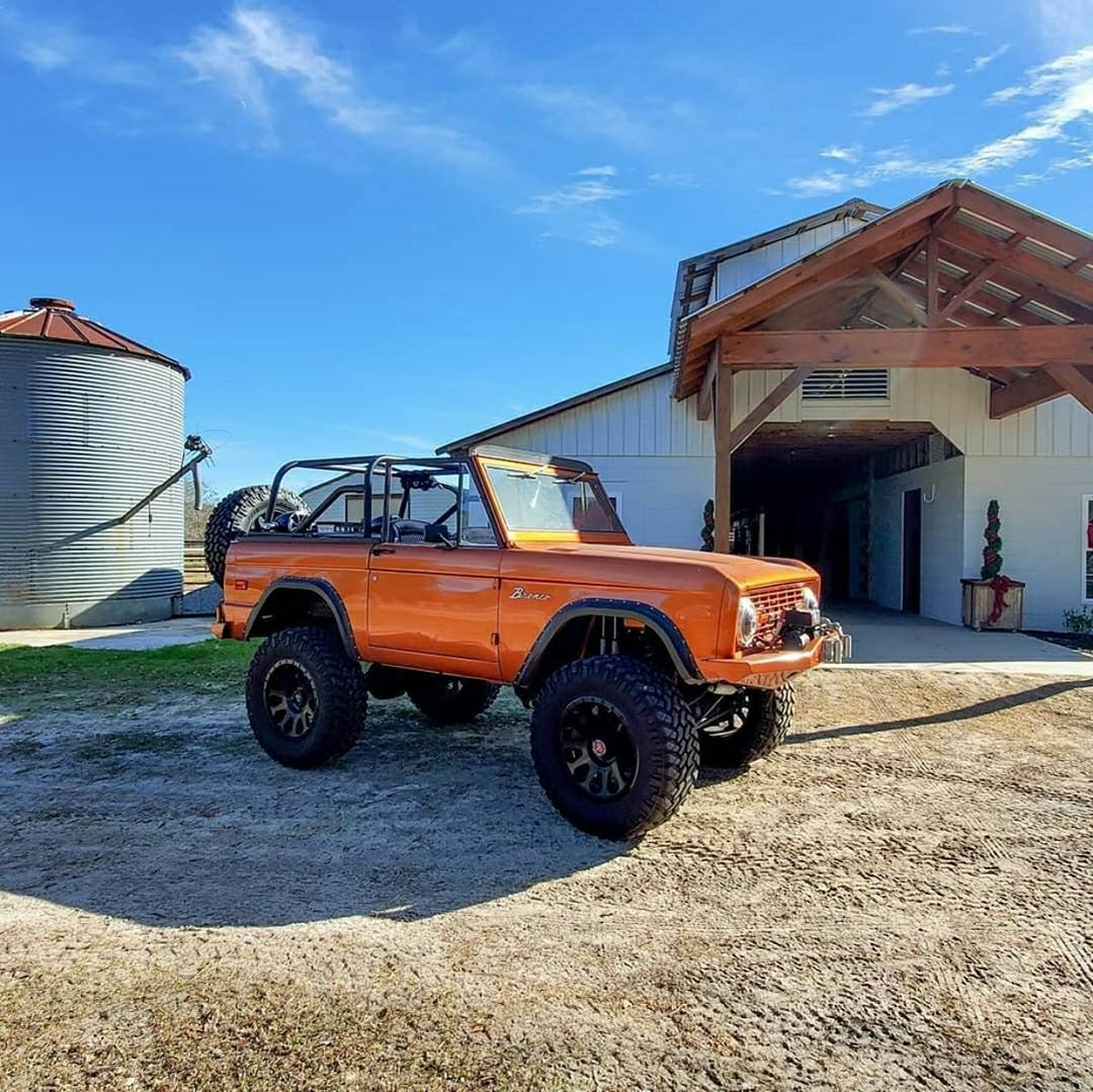 classic orange ford bronco