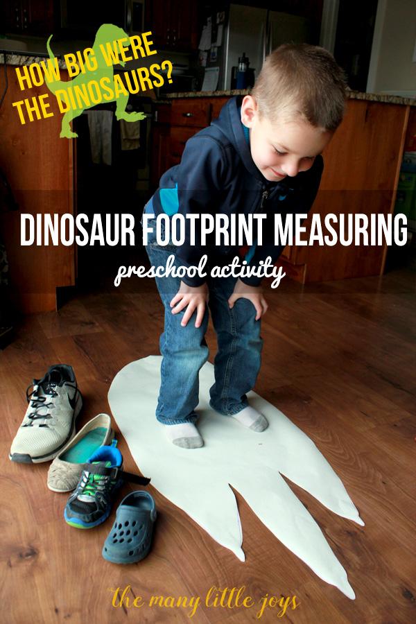 Dinosaur Footprints Preschool Measuring Activity The