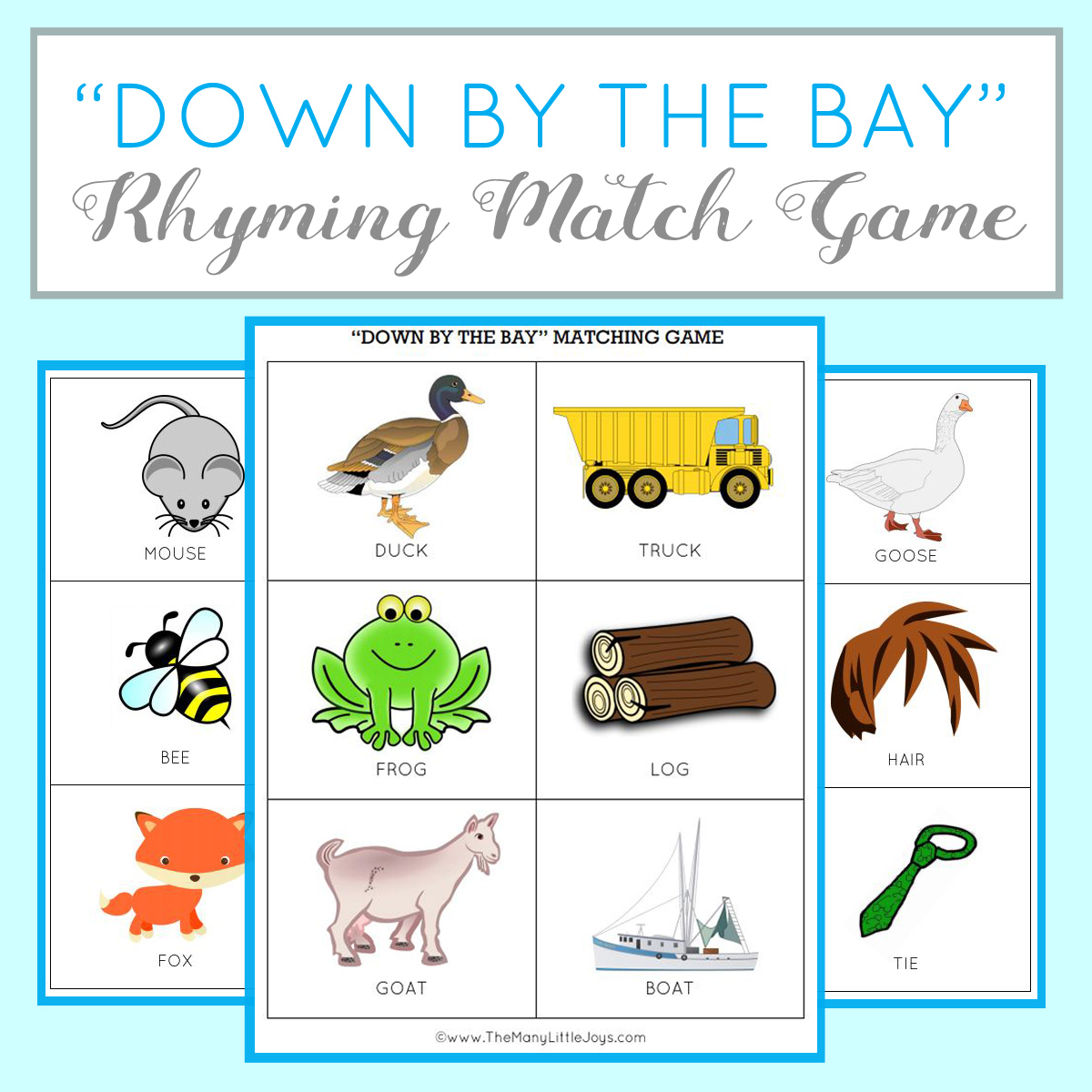 graphic about Printable Rhyming Games named Training children towards rhyme: rhyming video game activity (no cost printable