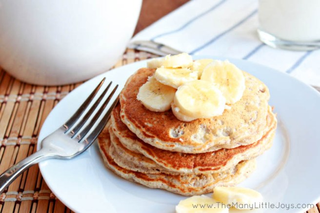 These healthy banana pancakes are a perfect breakfast recipe to use up brown bananas that have been hanging around on your counter for too long.