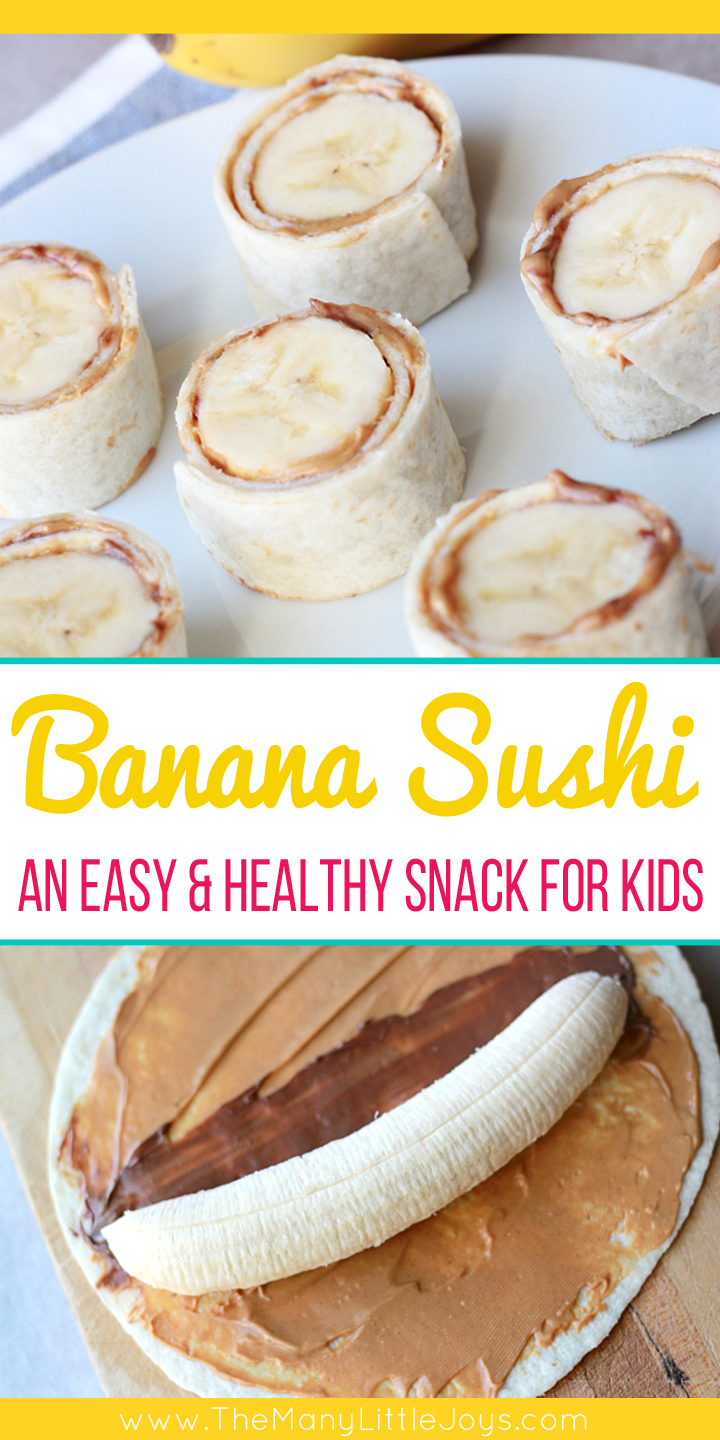 After school snacks are essential at our house. This quick and easy, protein-rich banana sushi is a favorite healthy snack your little monkeys will love!