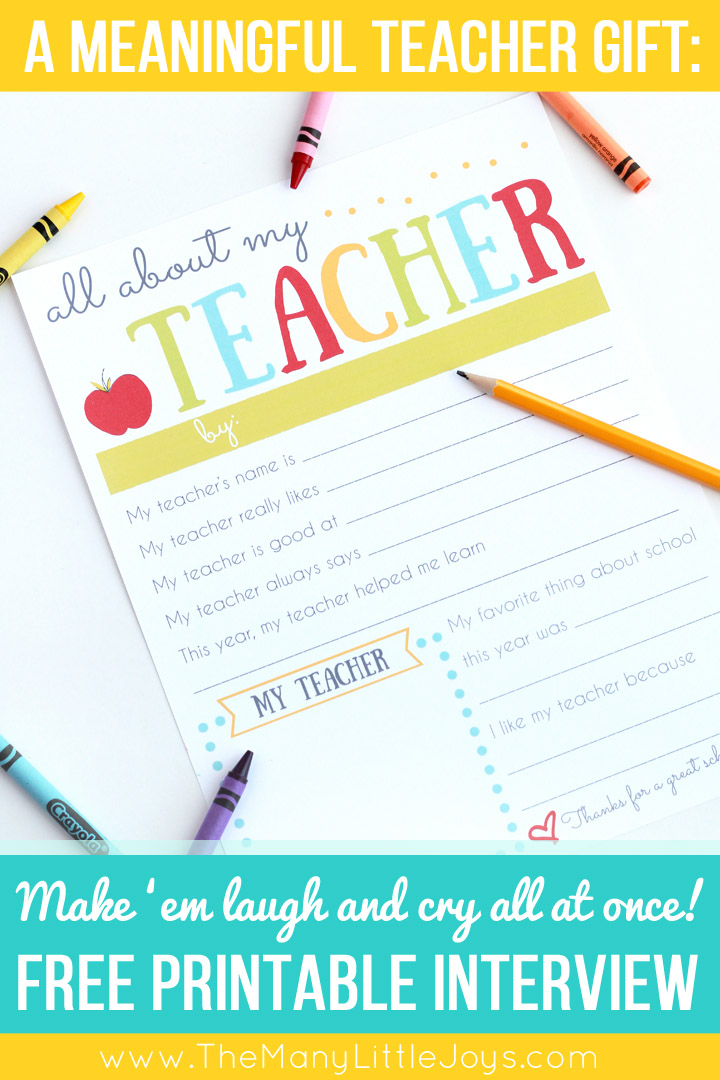 photograph about All About My Teacher Free Printable known as A Straightforward Significant Trainer Appreciation Present - The A great number of
