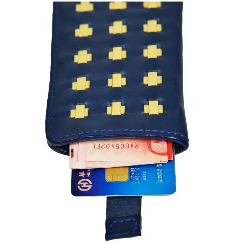 marine blue wallet open up