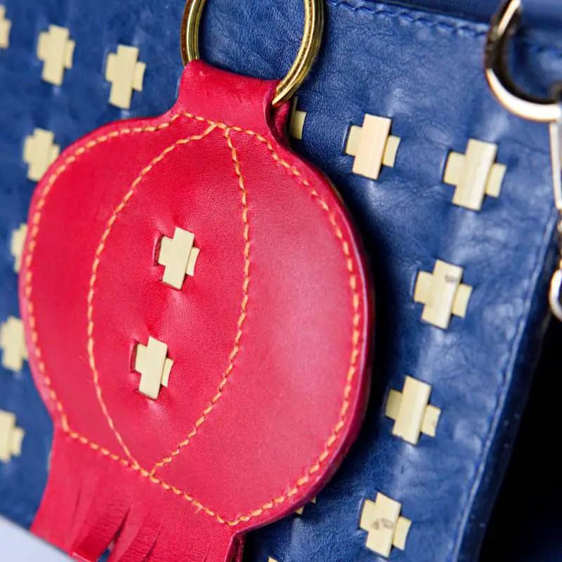 leather bag charm & blue purse