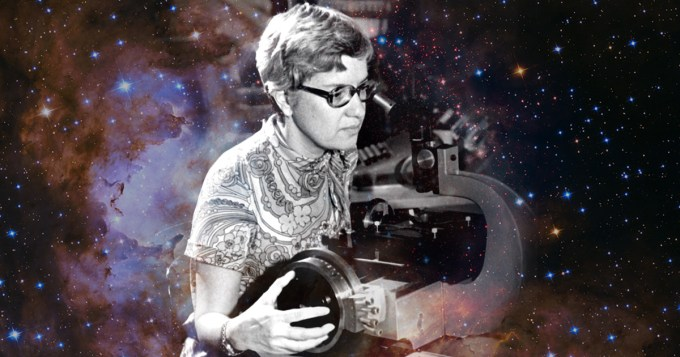 """Vera Rubin with her """"measuring engine"""" used to examine photographic plates, 1974"""