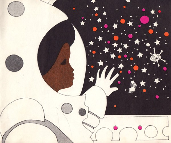 Art by Leo and Diane Dillon from Blast Off by Linda C. Cain and Susan Rosenbaum, a visionary vintage children's book that envisioned a black female astronaut decades before that became a reality.