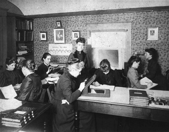 """The """"Harvard Computers"""" at work, circa 1890."""