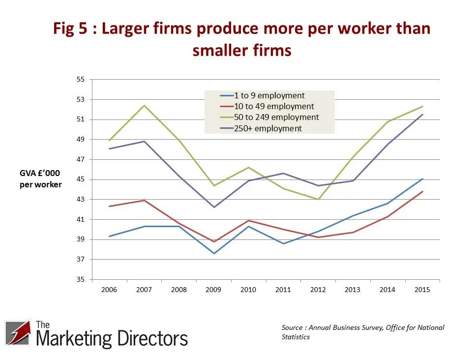 UK Productivity Conundrum | Figure 5 : Larger firms produce more per worker than smaller firms