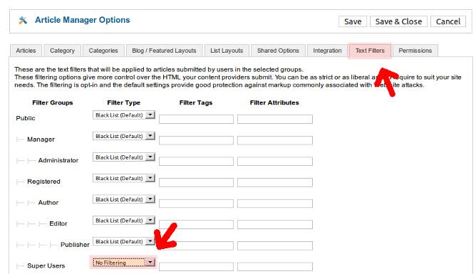 Joomla article manager options