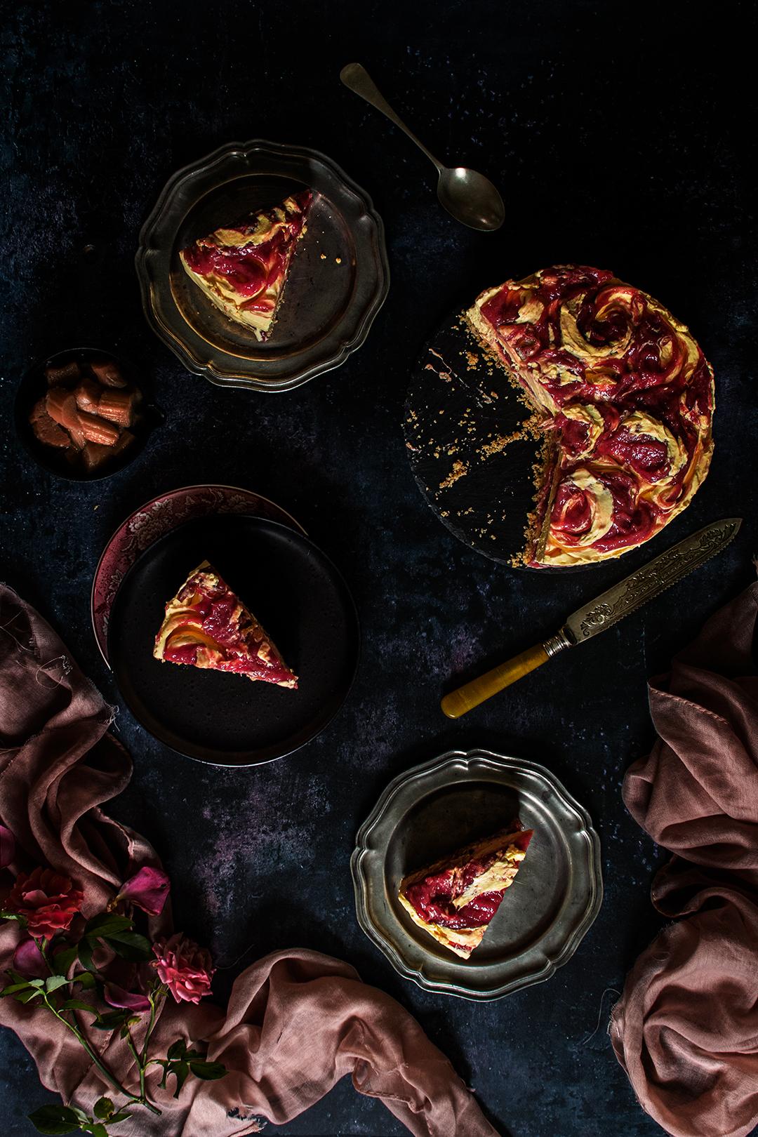 No Bake Rhubarb & Custard Cheesecake