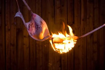 A picture of a burning bra