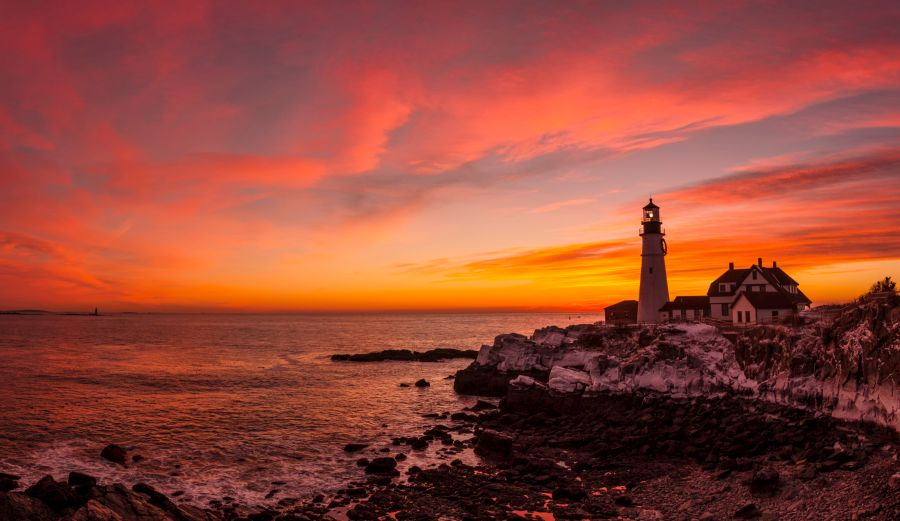 MAINE Portland Head Light January Sunrise 2014 Panorama 2