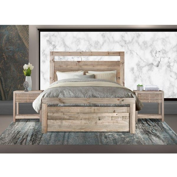 Carla Bed with Harrow Pedestals (Driftwood) - King Bed