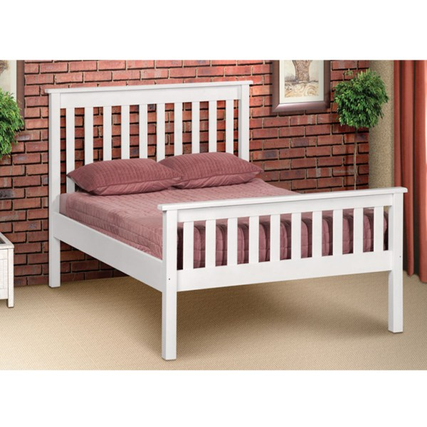 Charlene Hi-Foot Bed (White) - Queen Bed