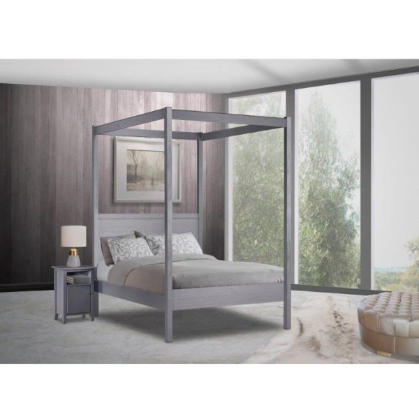 Janine 4 Poster Bed (Graphite) - Double Bed
