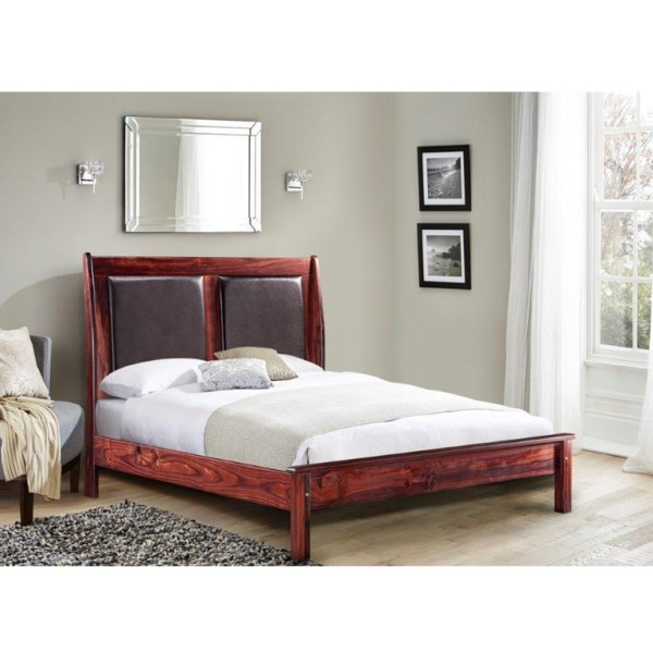 Paris Leather Bed (Chestnut) - Queen Bed