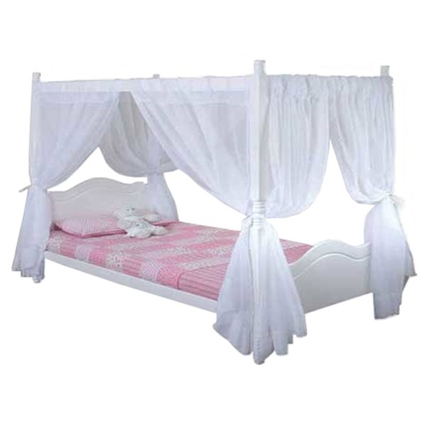 Princess 4 Poster Bed (White) - Queen Bed