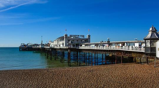 Brighton pier with a calm sea